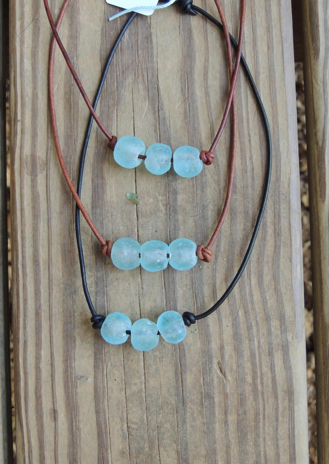 3 glass bead leather necklace