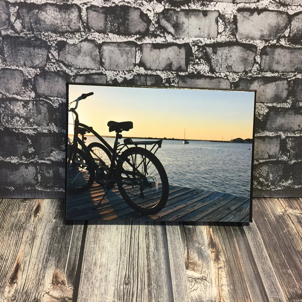 Bicycles at Sunset on the Bay Canvas Photo | Beach House Decor