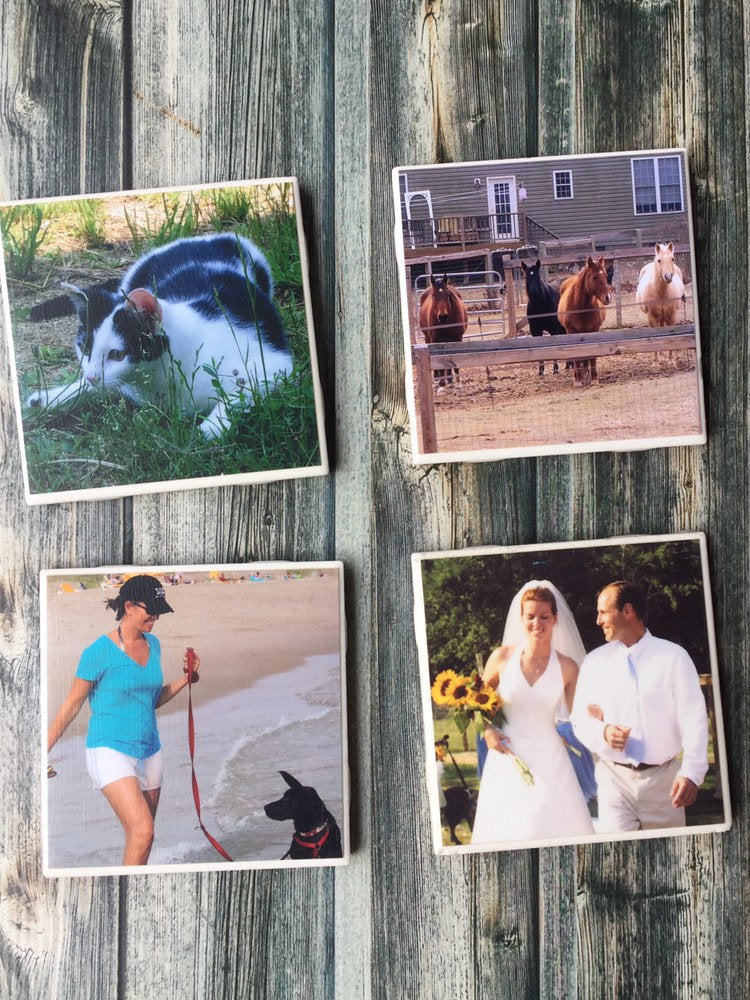 Custom Photo Drink Coasters | Personalized Birthday Gift