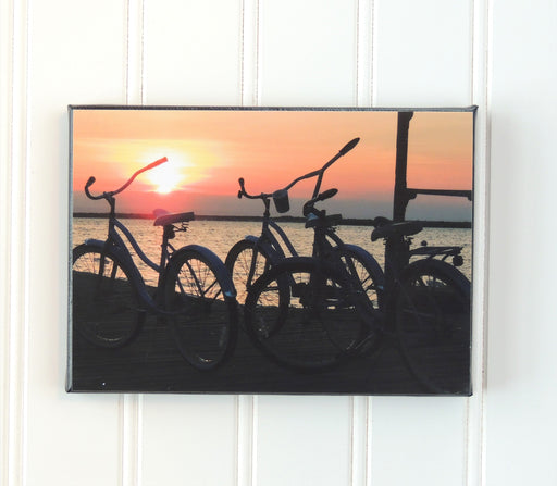 photo of bikes at sunset