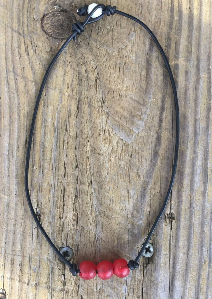 Recycled Glass and Leather Necklace | Beach Necklace
