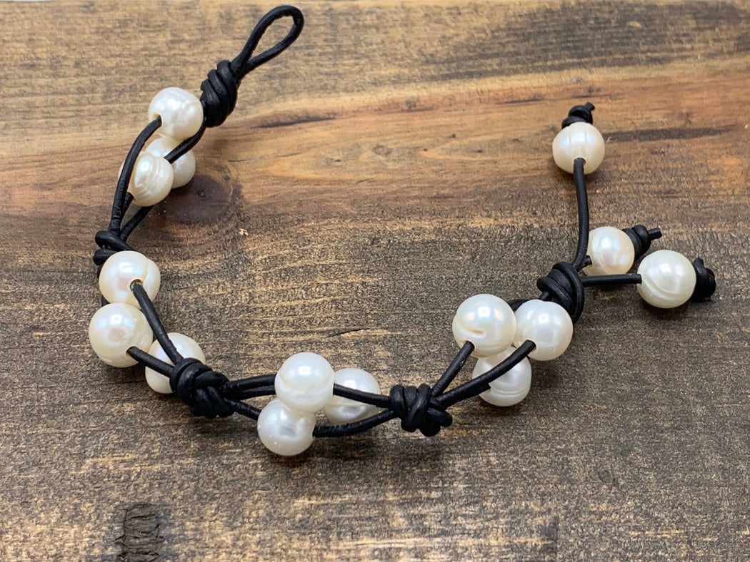 Freshwater Pearl & Leather Knotted Bracelet | For The Beach Lover