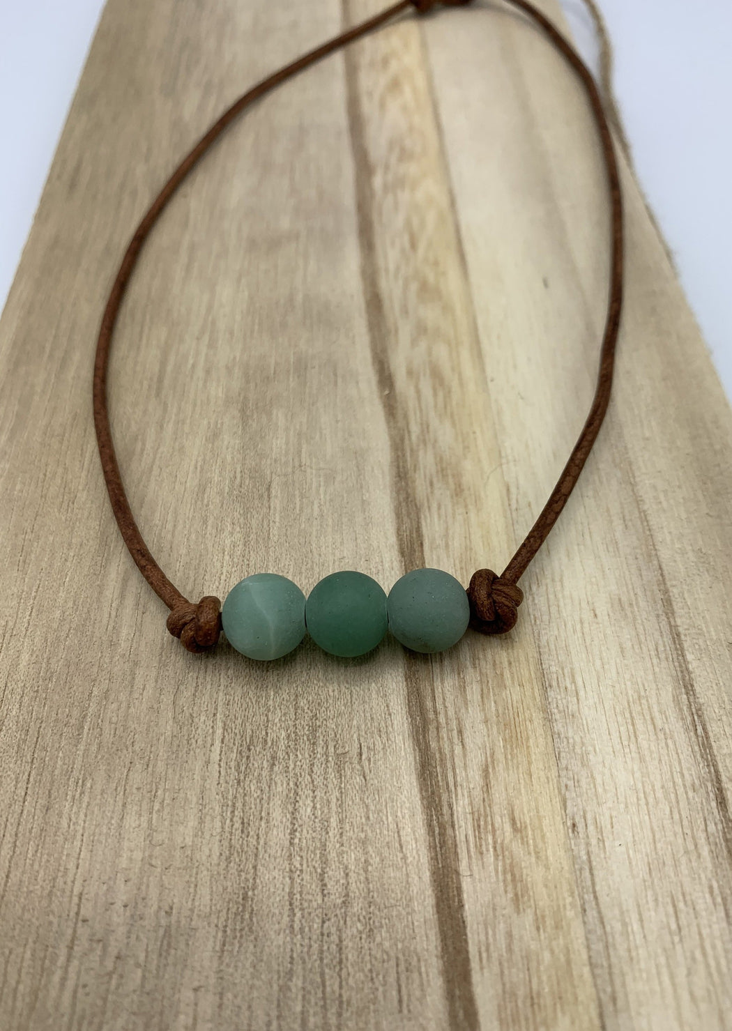 green aventurine leather necklace