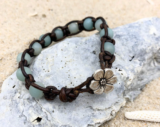 amazonite macrame leather bracelet