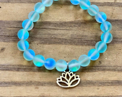synthetic moonstone lotus bracelet