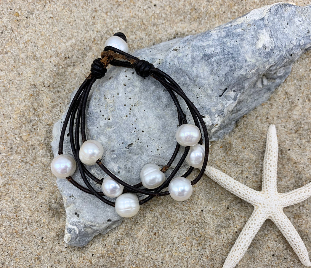 Freshwater Pearl and Leather Bracelet | Boho Bracelet | Beach Bracelet