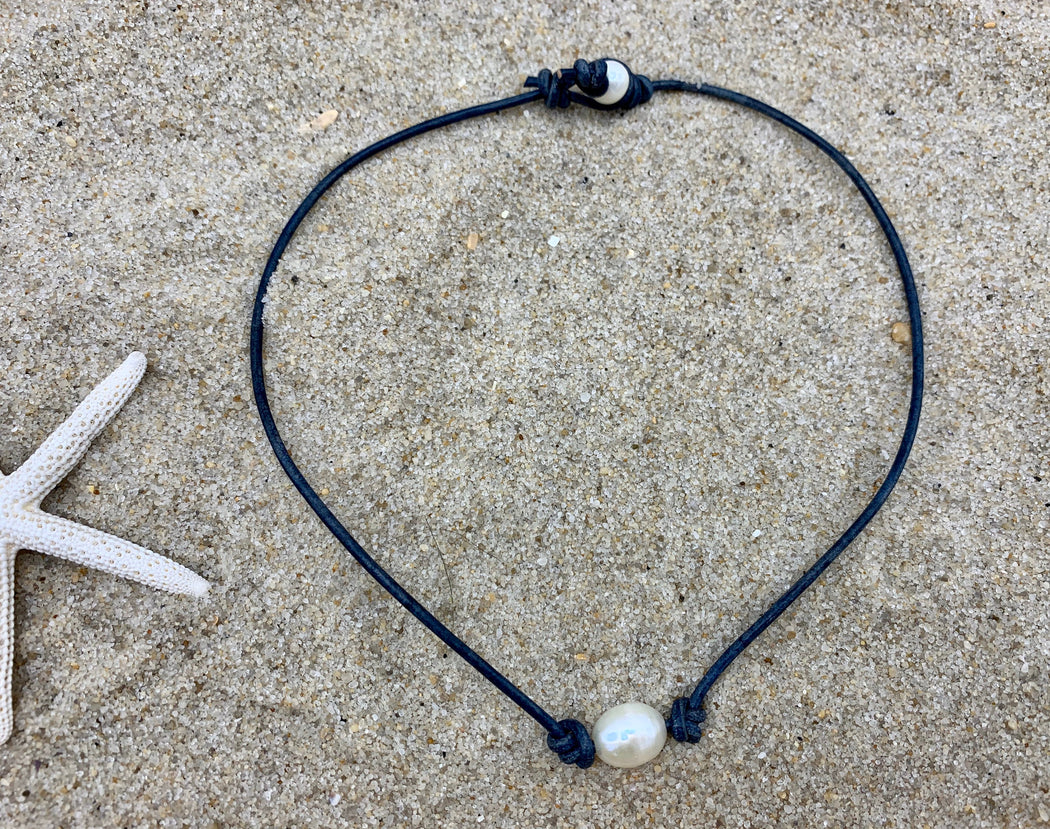 Leather and Freshwater Pearl Leather Necklace | Leather Layering Necklace