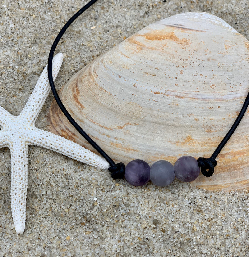 Amethyst and Leather Necklace | Beach Necklace for Her