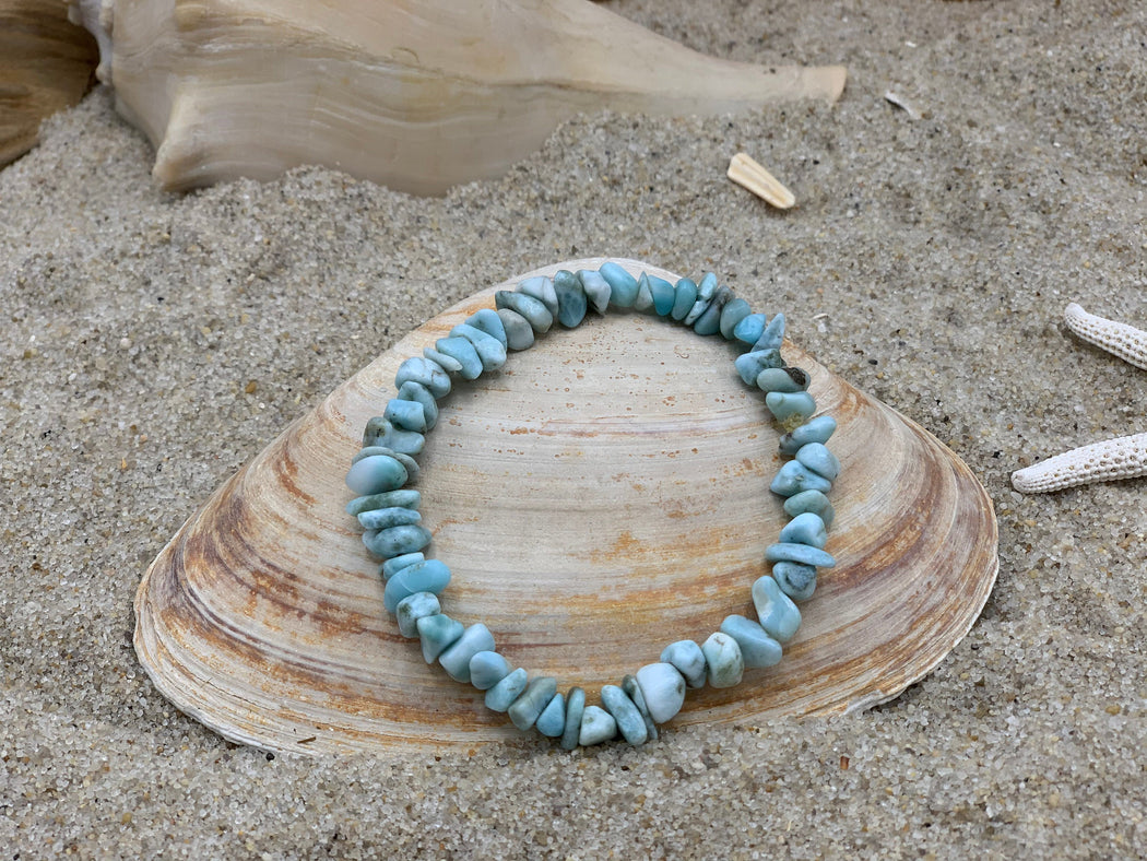 Larimar Stretch Bracelet | Birthday Gift for Her