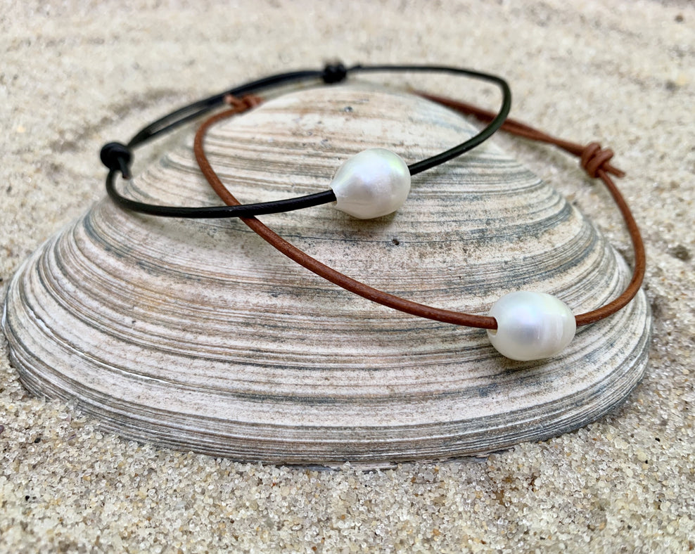 Pearl and Leather Anklet | Leather Ankle Bracelet | Beach Anklet