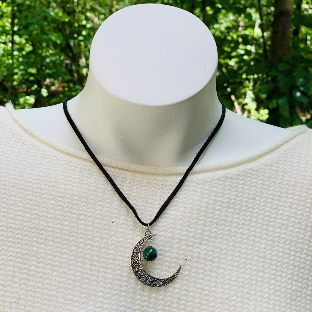 moon pendant necklace with malachite