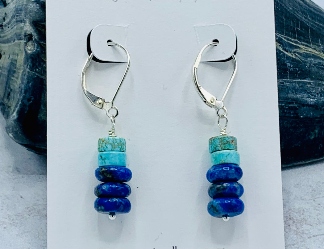 Lapis and Howlite Dangle Earrings | Blue Lovers Earrings