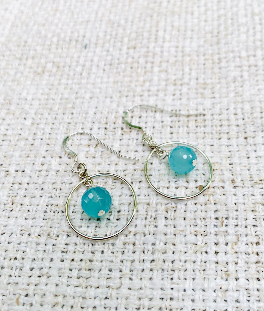 Chalcedony Sterling Silver Hoop Earrings | Summer Earrings