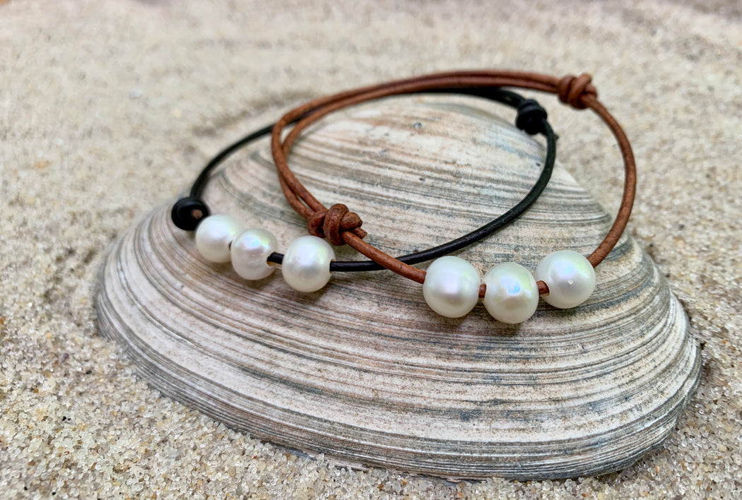Leather Anklet with Pearls | Adjustable Ankle Bracelet | Boho Anklet