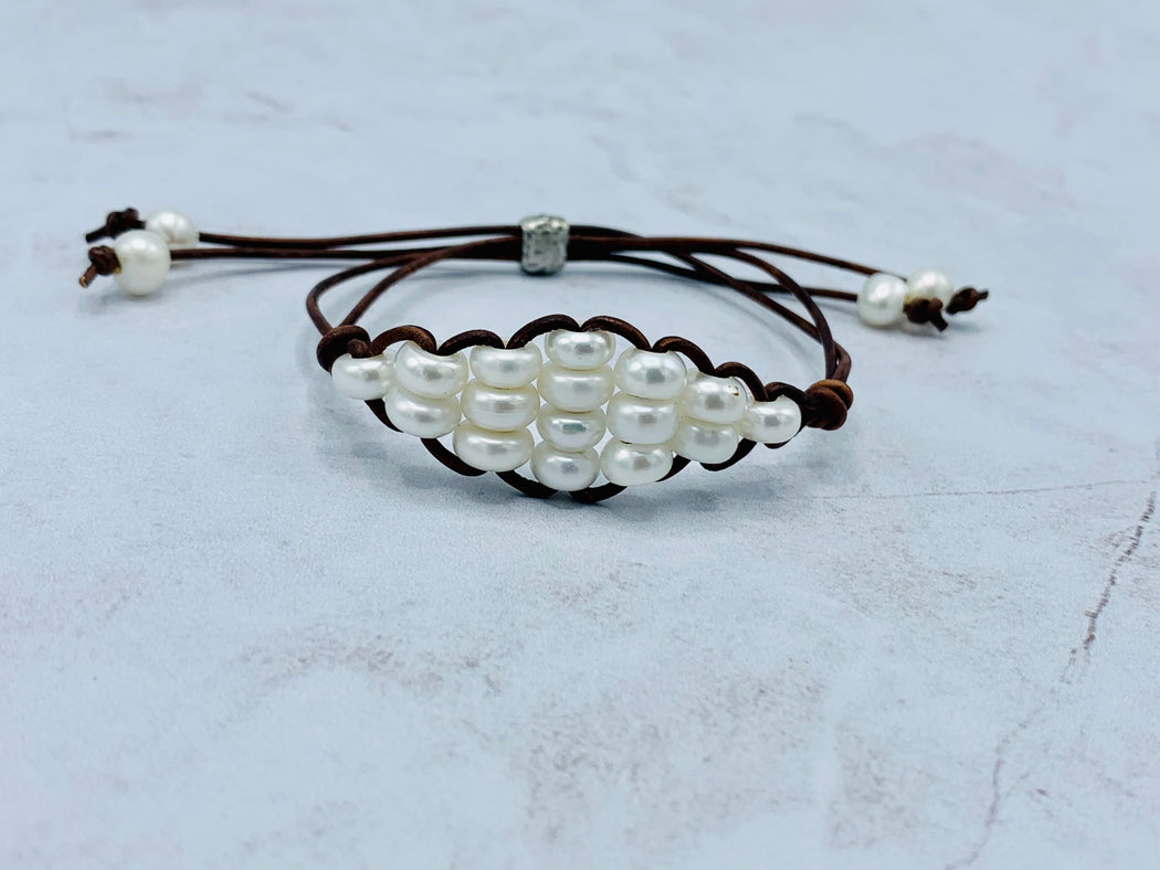 Adjustable Leather Pearl Bracelet | Women's Leather Bracelet