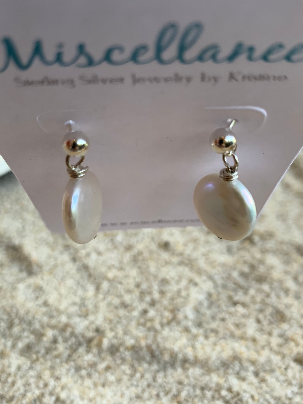 Freshwater Pearl Stud Earrings | Coin Pearl Earrings