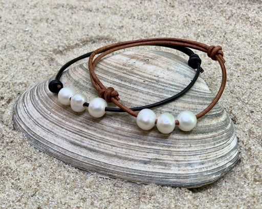 leather pearl anklet