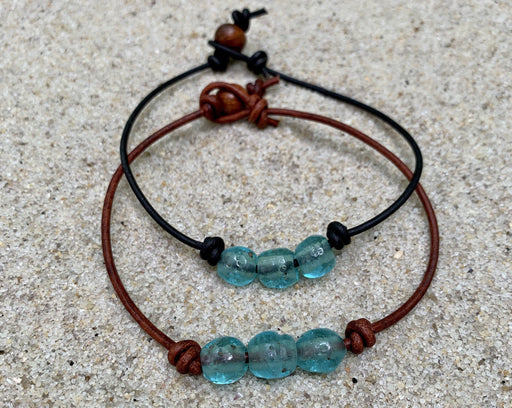 beach glass leather anklet
