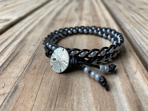 sand dollar leather double wrap bracelet