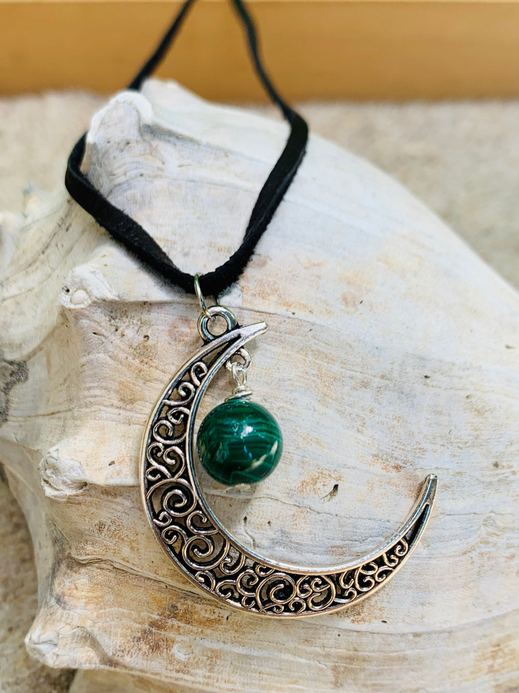 Boho Crescent Moon Pendant Necklace | Gemstone Moon Leather Necklace
