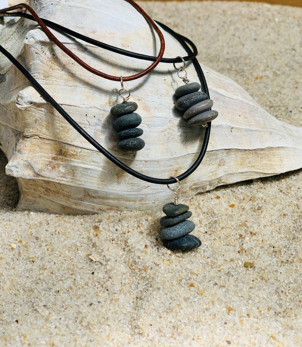 Natural Stone Leather Necklace | Cairn Pendant Necklace | Mens Leather Necklace