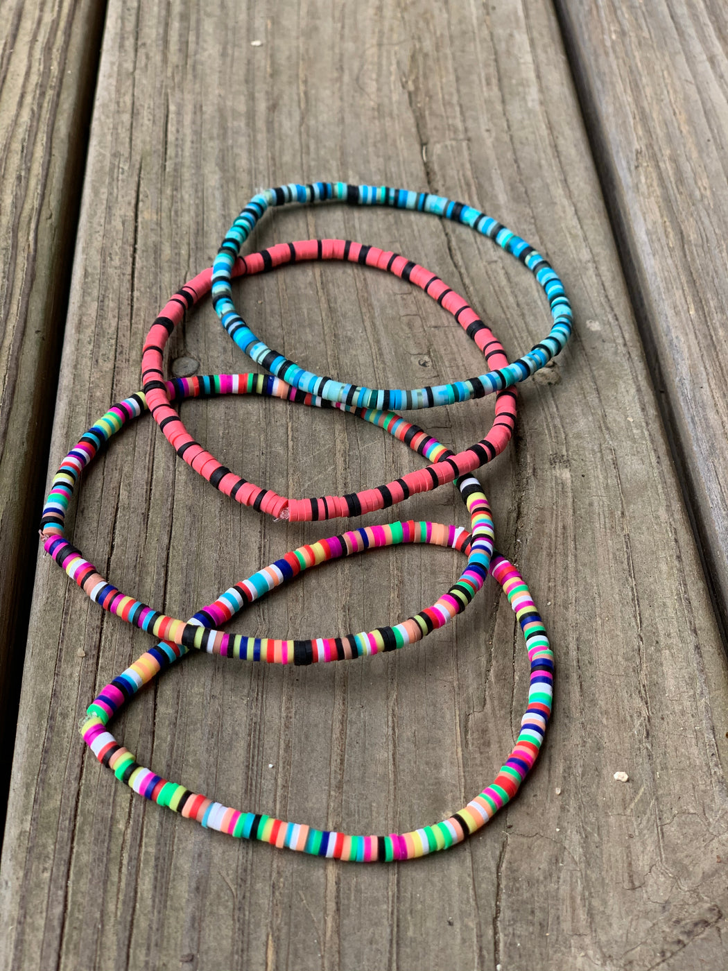 bright vinyl bead stretch anklets