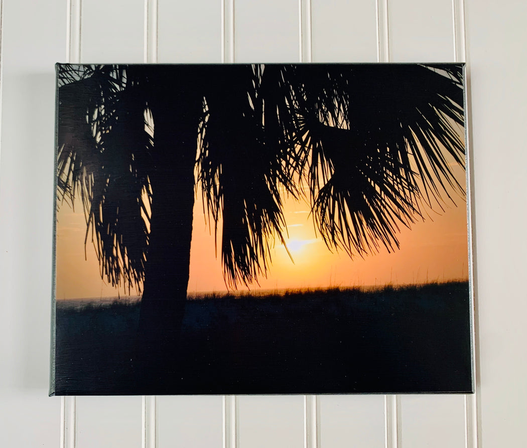 Palm Tree Sunset Canvas Photo | Beach Lovers Gift | Beach Wall Art