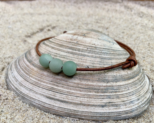 green aventurine leather anklet