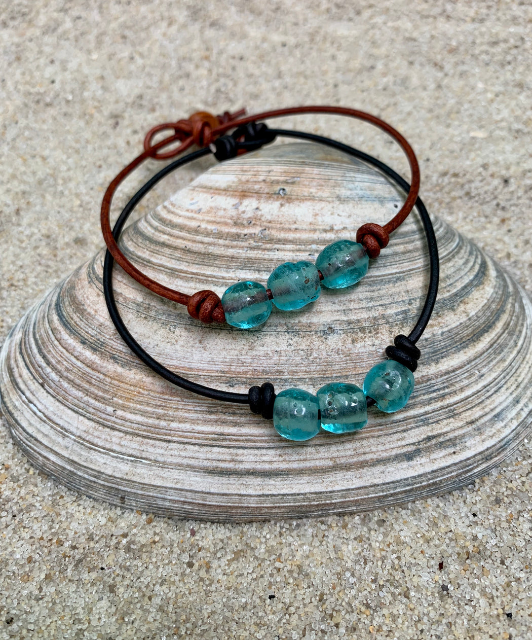 Sea Glass Leather Anklet | Beach Ankle Bracelet