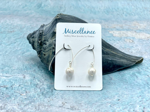 Freshwater Pearl Sterling Silver Marquise Hook Earrings | Beach Earrings