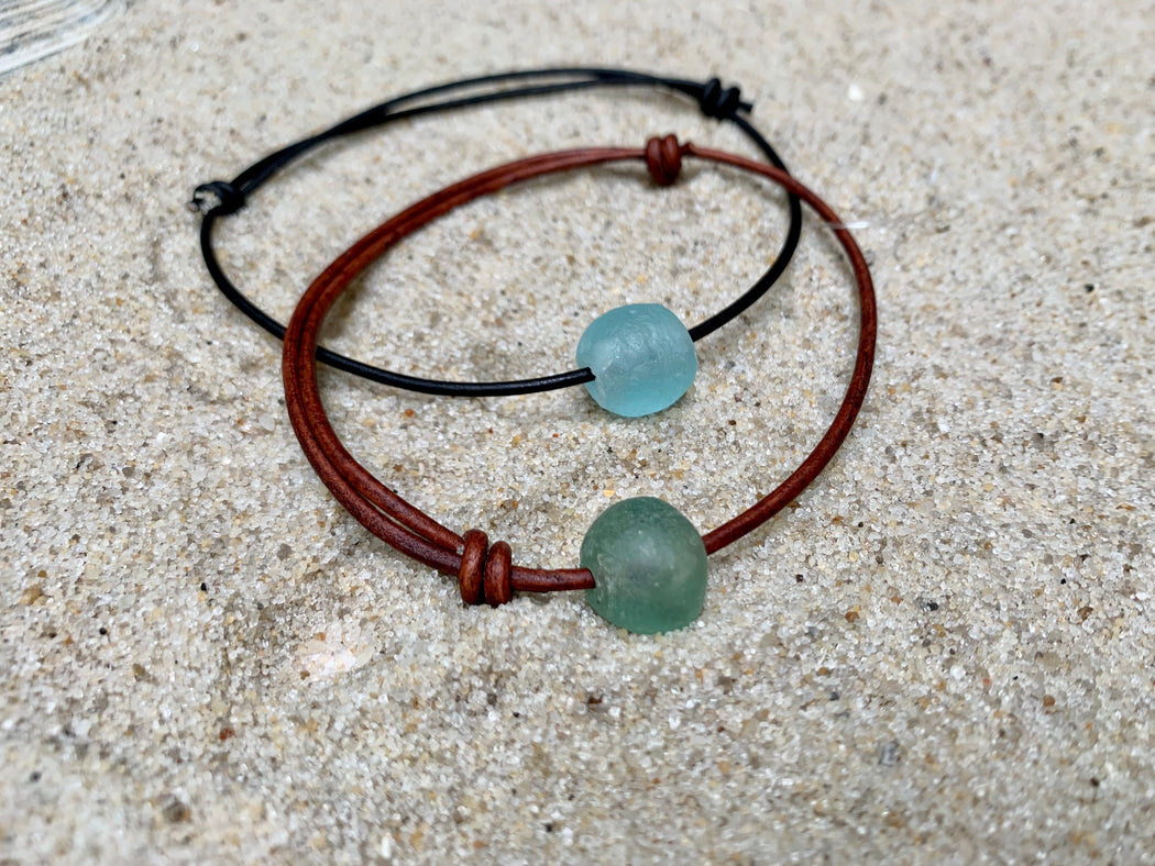Adjustable Sea Glass Leather Anklet | Summer Ankle Bracelet