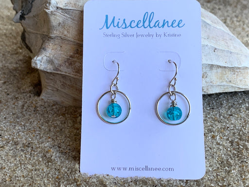 Sterling Silver earrings with blue glass bead