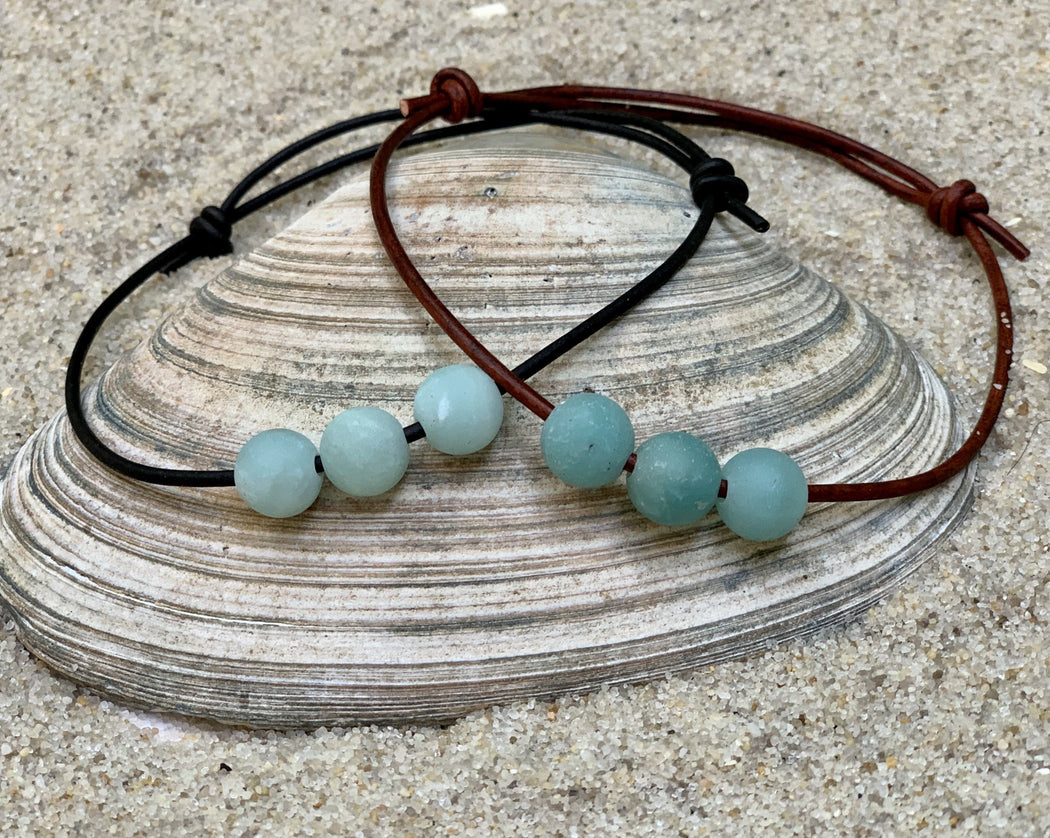 Womens Leather Anklet | Amazonite Anklet | Beach Anklet