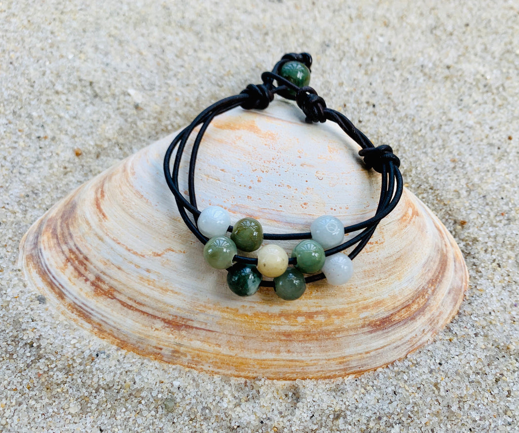 Multi Strand Jade Leather Bracelet | Women Leather Boho Bracelet
