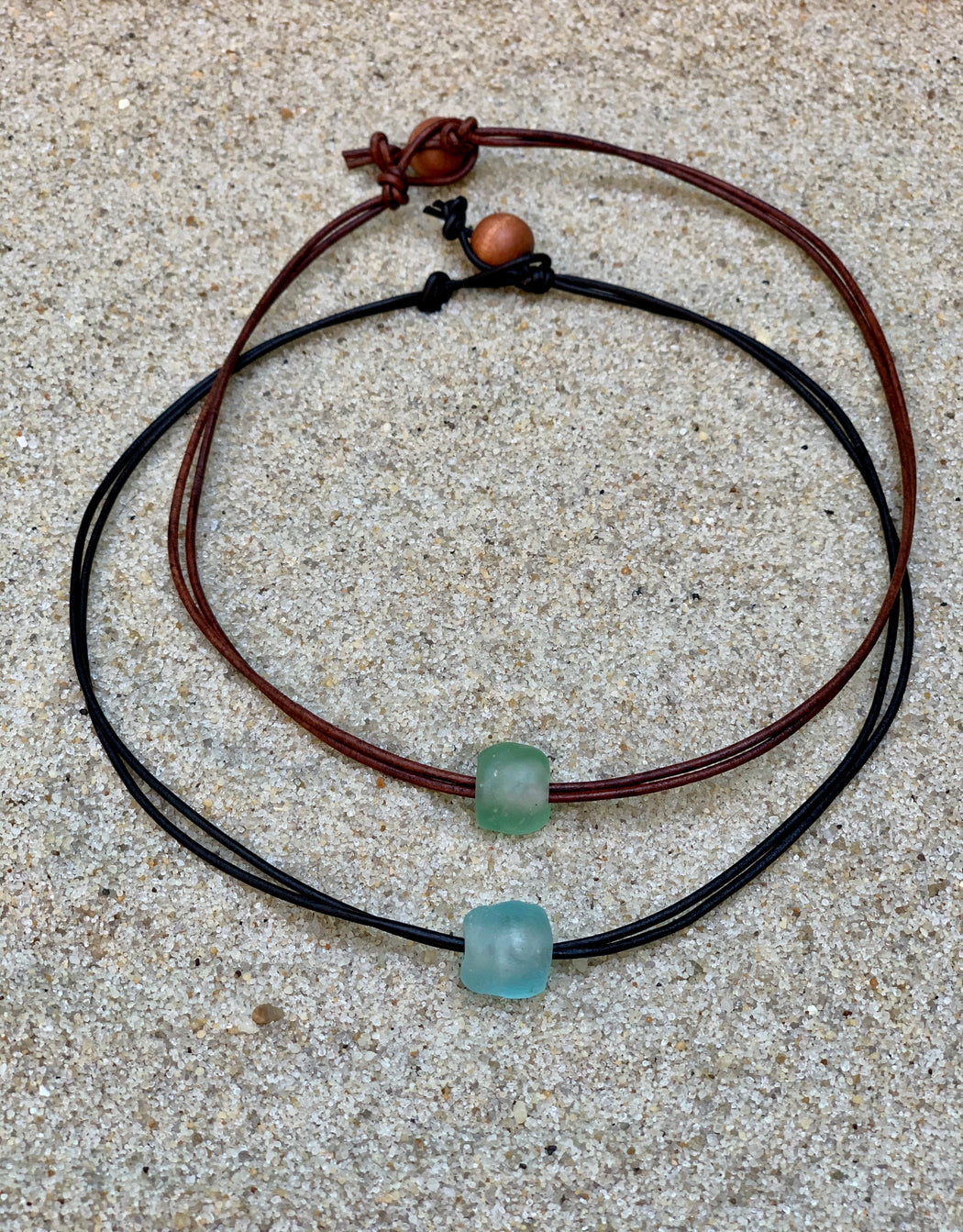 womens leather necklace with bead