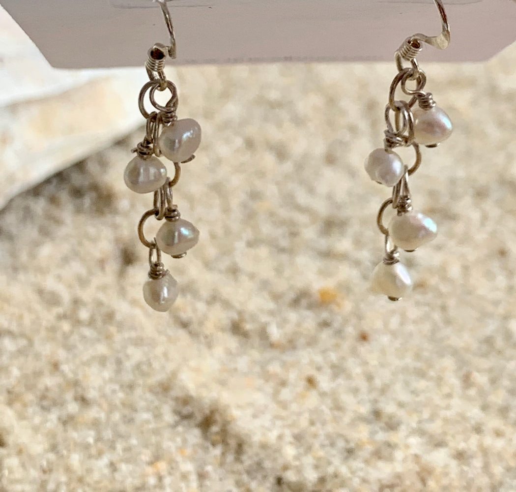 Sterling Silver Freshwater Pearl Earrings | Pearl Chain Earrings