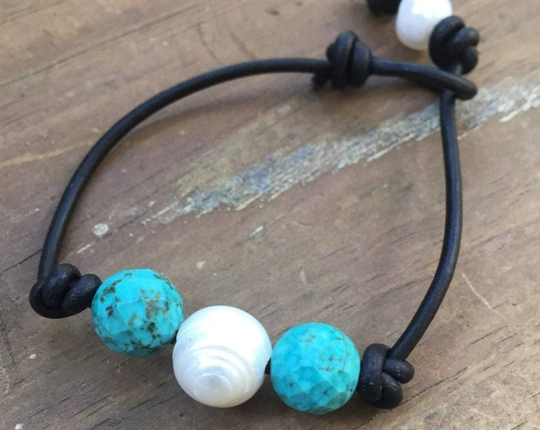 turquoise pearl leather bracelet