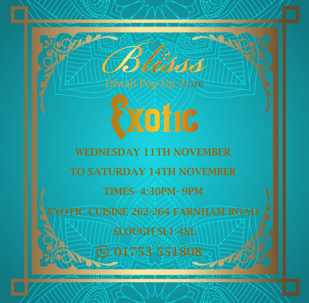 Blisss Diwali pop-up in Slough and Hounslow