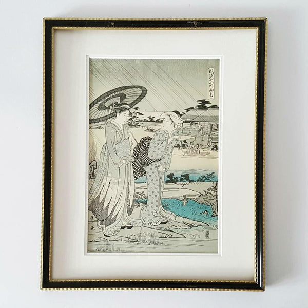 """Chobunsai Eishi"" Vintage Ukiyo-E Print Titled ""Amagoi Praying For The Rain."""