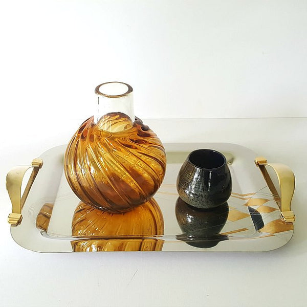 Italian Stainless Steel & Gold Serving Tray