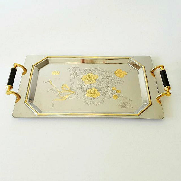 Italian Stainless Steel & Gold Engraved Serving Tray