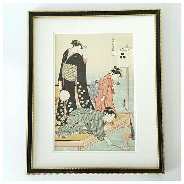 """Torii Kiyonaga"" Vintage Ukiyo-e Print Titled ""Cooling Off At The Riverside"""