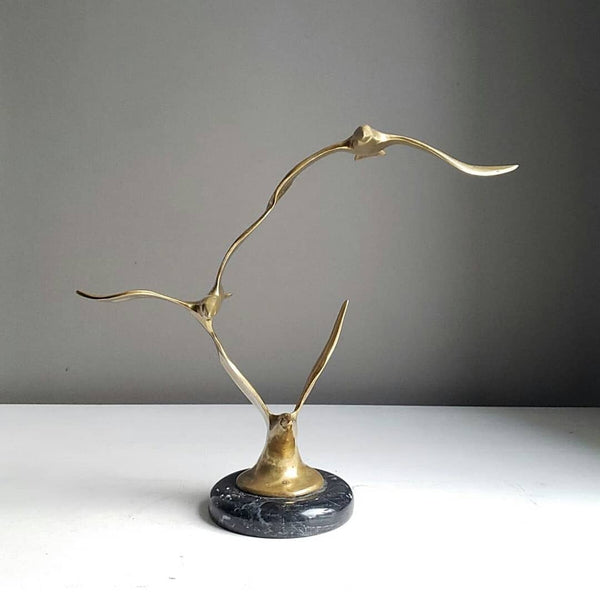 Mid-Century Brass Seagull Trio in Flight On A Marble Base