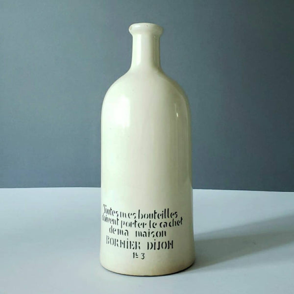 Vintage French Pottery Earthenware Viniagrette Bottle With Text