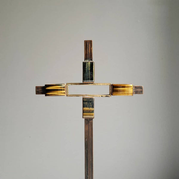 Mid Century Brutalist Artisan Made Brass & Agate Cross