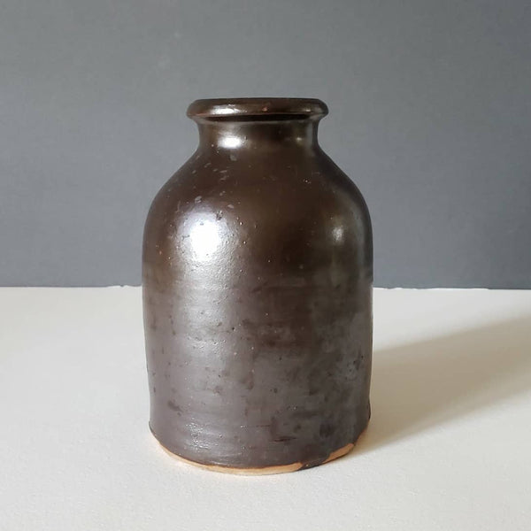 Small Antique Crock With Chocolate Glaze