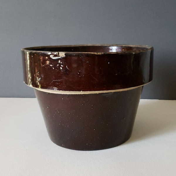 Rustic Antique Stoneware Flower Cache Pot