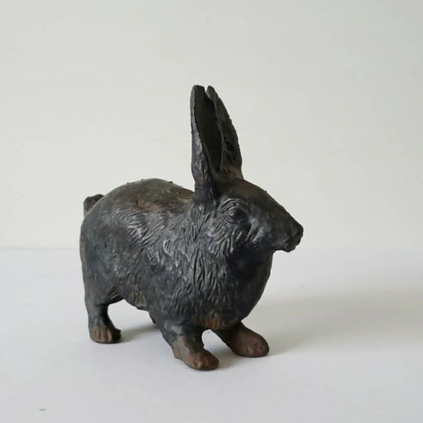 Beautiful Antique Cast Iron Rabbit Doorstop Garden Statuary