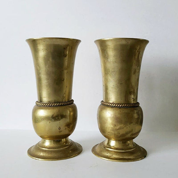 "12"" Tall Antique Heavy Brass Mantle Vase Pair"