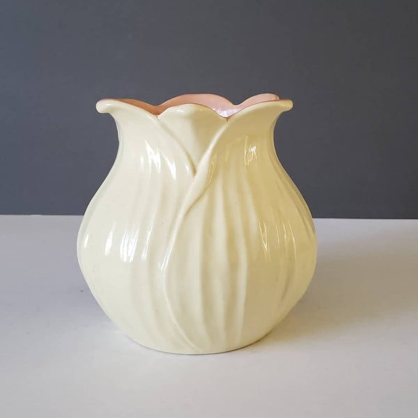 Redwing Pottery Cream & Dusty Pink Tulip Vase